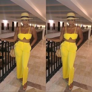 Other - Yellow 2 piece tube top pants set